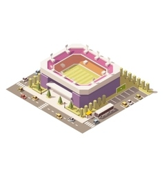 isometric low poly soccer stadium vector image