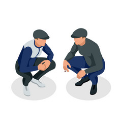 Isometric man is squatting and smoking vector