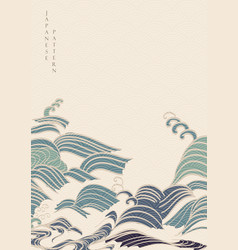 japanese hand draw wave background with geometric vector image