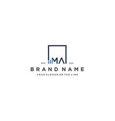Letter ma square logo finance design vector