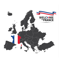 Map of europe with the state of france vector