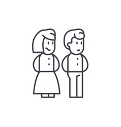 married couple line icon concept married couple vector image