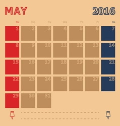 May 2016 monthly calendar template vector