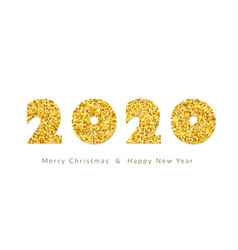 merry christmas card gold number 2020 with text vector image