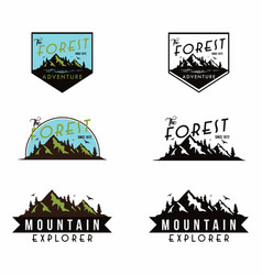 Mountain explorer adventure black and white badge vector
