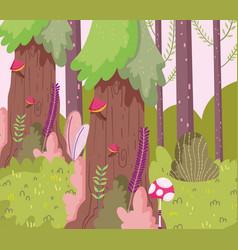 Mushrooms grass bush trees branches landscape vector