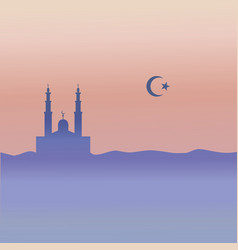 Muslim mosque crescent and star vector