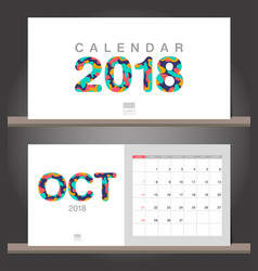 october 2018 calendar desk calendar modern design vector image