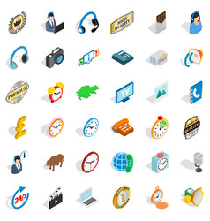Office icons set isometric style vector