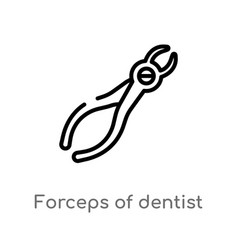 outline forceps dentist tools icon isolated vector image