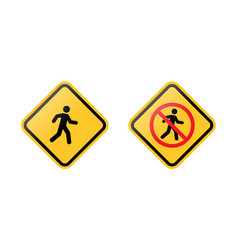 pedestrians road signs vector image