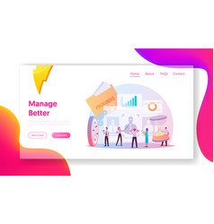Performance management landing page template vector