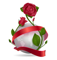 planet red ribbon and rose flower vector image
