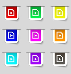 play icon sign Set of multicolored modern labels vector image