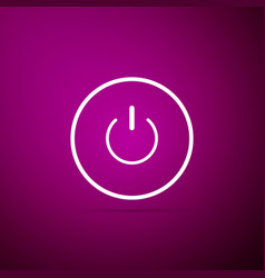 power button icon on purple background start sign vector image