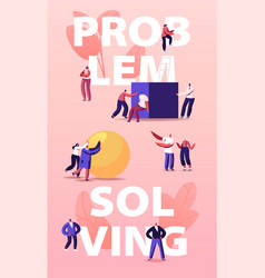 Problem solving concept tiny people pushing huge vector