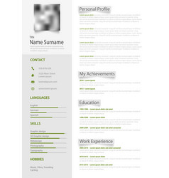 Professional personal resume cv with gray labels vector
