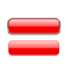 Red glass buttons with and without metal frame vector