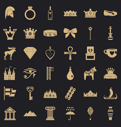 rich crown icons set simple style vector image
