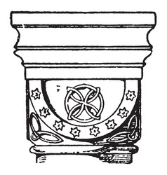 Romanesque cushion capital found in the abbey vector