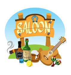 saloon wooden signboard advertising banner in the vector image