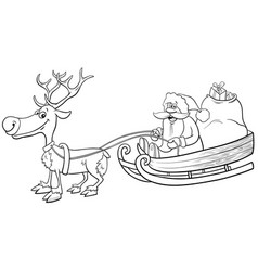 santa claus on sleigh with reindeer coloring book vector image