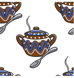saucepan with ornament and spoon bulgarian clay vector image