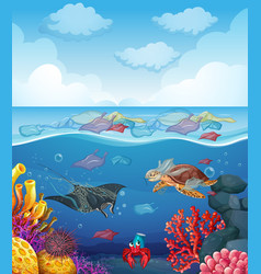 Scene with sea animals and trash in ocean vector