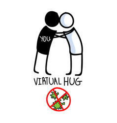 Sending virtual hug corona virus crisis defeat vector