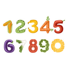 Set numbers vegetables and fruit style food vector