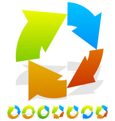 set of 7 colorful circular arrow icon vector image