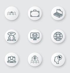 Set of 9 business management icons includes email vector