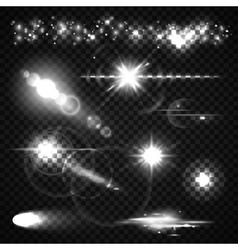 Set of Light effects spotlights flash stars and vector image