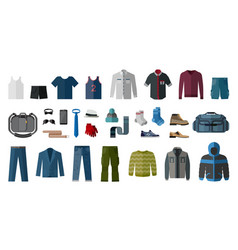 set of mens clothing and accessories vector image