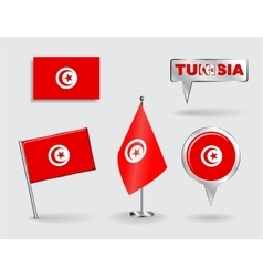 Set of Tunisian pin icon and map pointer flags vector