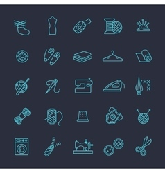 Sewing equipment and needlework icons set vector image