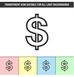 Simple outline transparent dollar sign icon vector