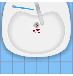 Sink with blood and toothbrush vector