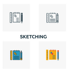 sketching icon set four elements in diferent vector image