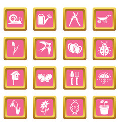 spring icons set pink square vector image