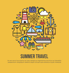 Summer travel conceptual banner collection of vector