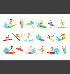 Surfboarders riding on waves set surfer men with vector