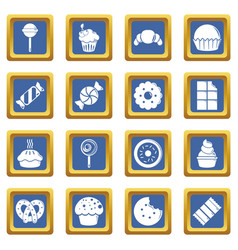 sweets candy cakes icons set blue square vector image