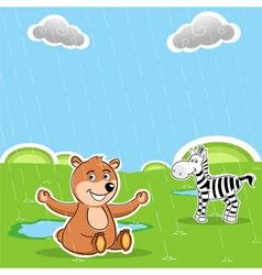 Teddy and zebra vector
