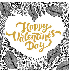 valentines day card design golden lettering and vector image