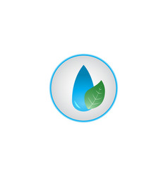 water leaf logo combination green planet vector image