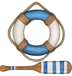 Watercolor blue life buoy and oar vector