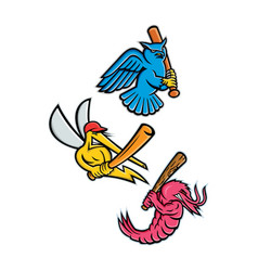 Wildlife baseball sporting mascot collection vector