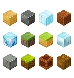 Isometric Cubes Big Set elements nature vector image vector image