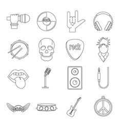 rock music icons set outline style vector image vector image